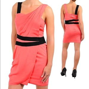 Club cocktail evening mini dress clubwear coral